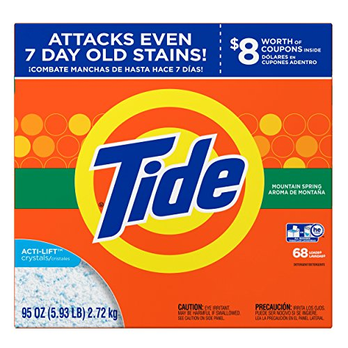 (Tide Mountain Spring He Turbo Powder Laundry Detergent 68 Loads, Ultra Mountain Powder, 95 Ounce)