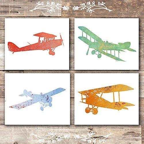 Nursery Airplanes Art Prints (Set of 4) - Unframed - 8x10s ()