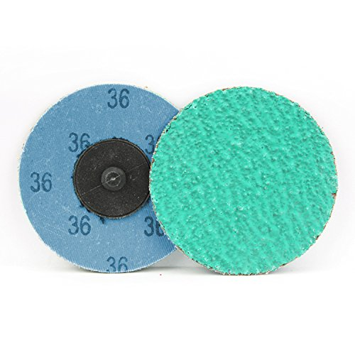 25 Pack - 3'' Green Zirconia with Grind Aid Quick Change Sanding Discs Type R Male - Roll On (36 Grit)…