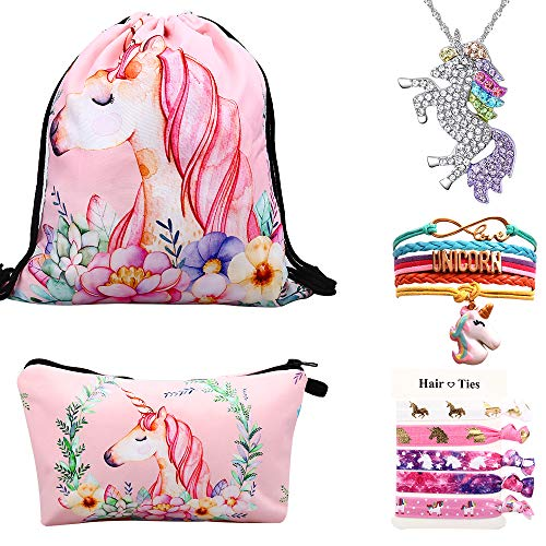 Lingpeng Unicorn Gifts For Girls 5 Pack, Unicorn Drawstring Backpack/Makeup Bag/Unicorn Pendant Necklace/Bracelet/Hair Ties(Pink) ()
