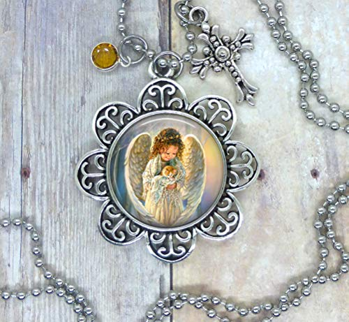 Angels and Kittens, Photo Image in a Nice Setting, Adorned with a Pretty Cross & Golden Yellow Swarovski Crystal. Your Choice, Necklace, Packpack Clip, Keychain, or Purse Clip. Packaged in a Gift Bag.