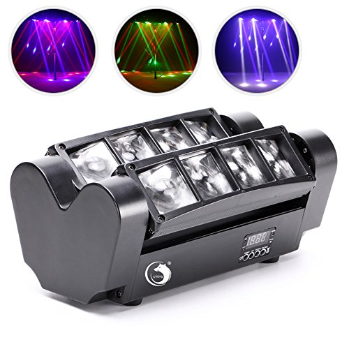 Moving Head Light, Mini Spider 8x3W with RGBW 4 Color LED Light Disco Lamp DMX512 Portable Stage Light by U`King (Black)