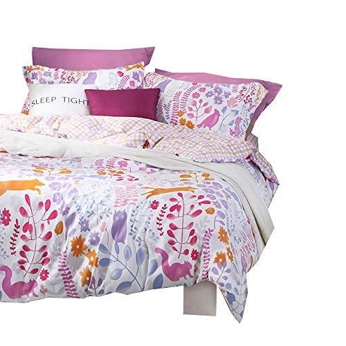 BuLuTu Animal Woodland Reversible Girls Bedding Sets Queen White Hypoallergenic Kids Duvet Cover Full Cotton Zipper Closure,Gifts for Child,Teen,Kid,Daughter,Toddler,Sister,Friend,Family