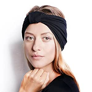 The Original BLOM. Patent Pending Headband for Sports or Fashion, Yoga or Travel. 30 Day Happy Head Guarantee. Super Comfortable. Designer Style & Quality. Black.