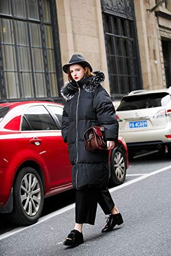 with Long u you Fur Trim Down Black Coat Winter Hood Women Faux YprrWnq4