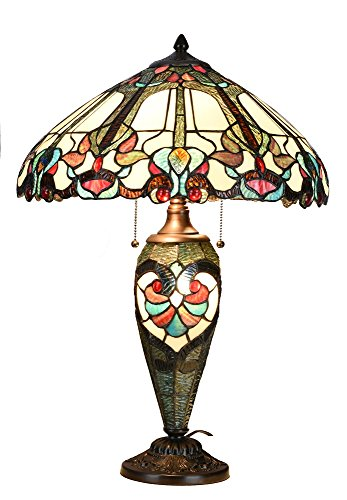 Niloah NH18202 Tiffany Style Table Lamp 18-Inch Shade with Lighted Base (Style Shades Tiffany Metal)