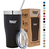hot water holder - Healthy Human Insulated Stainless Steel Tumbler Cruisers - Travel Cup with Lid & Straw - Vacuum Double Walled Thermos - Idea for Coffee, Tea & Water 32 oz. Pure Black