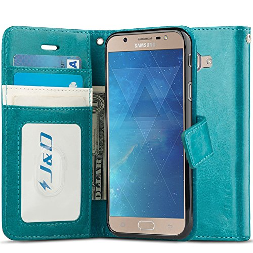 Case Compatible for Galaxy J7 Max Case, [Wallet Stand] [Slim Fit] Heavy Duty Shockproof Flip Cover Wallet Case for Samsung Galaxy J7 Max Wallet Case - [NOT for Galaxy J7 2017 / J7 Prime] - Aqua