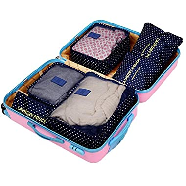 Wastar® New 6pcs Packing Cubes Set - 3 Travel Cubes + 3 Laundry Pouches - Your Perfect Travel Luggage Packing Organizer Bag