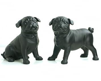 Mops Deko.Bestwest Deko 2er Set Möpse Paar 20 Cm Schwarz Matt Dekoration Mops Hund Figur Skulptur