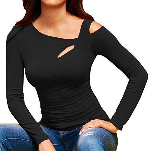 DEATU New Womens Casual Sexy Cold Shoulder Tops Long Sleeve T Shirt...