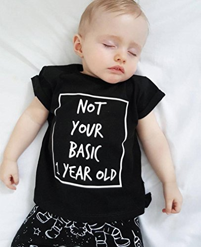 Prevently Junge Anzug Kleinkind Baby Junge Space Brief Print Tops + Spaceman Print Hosen Sets Kleidung Outfits Schwarz