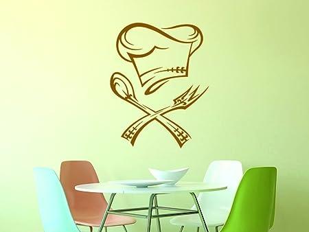 GRAZDesign Wandtattoo Küche Restaurant, Wandtattoos Küche Esszimmer Koch,  Aufkleber für Küche Chefkoch / 38x30cm / 080 braun