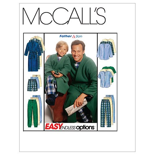 McCall's Patterns M6236 Boys'/Men's Robe With Tie Belt, Top, Pull-On Pants or Shorts, Size MEN (SML-MED-LRG-XLG) (Sewing Pajama Pants)