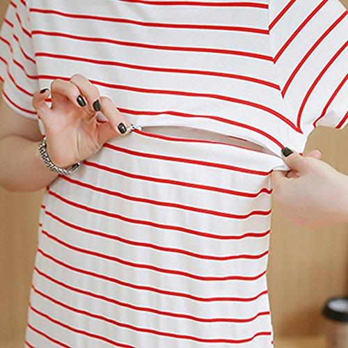 estate Allattamento Shirt Maternity Womens manica T Gravidanza Dress O Moda Abito Neck Nero corta Allattamento Stripe XFentech qSTwxC85S