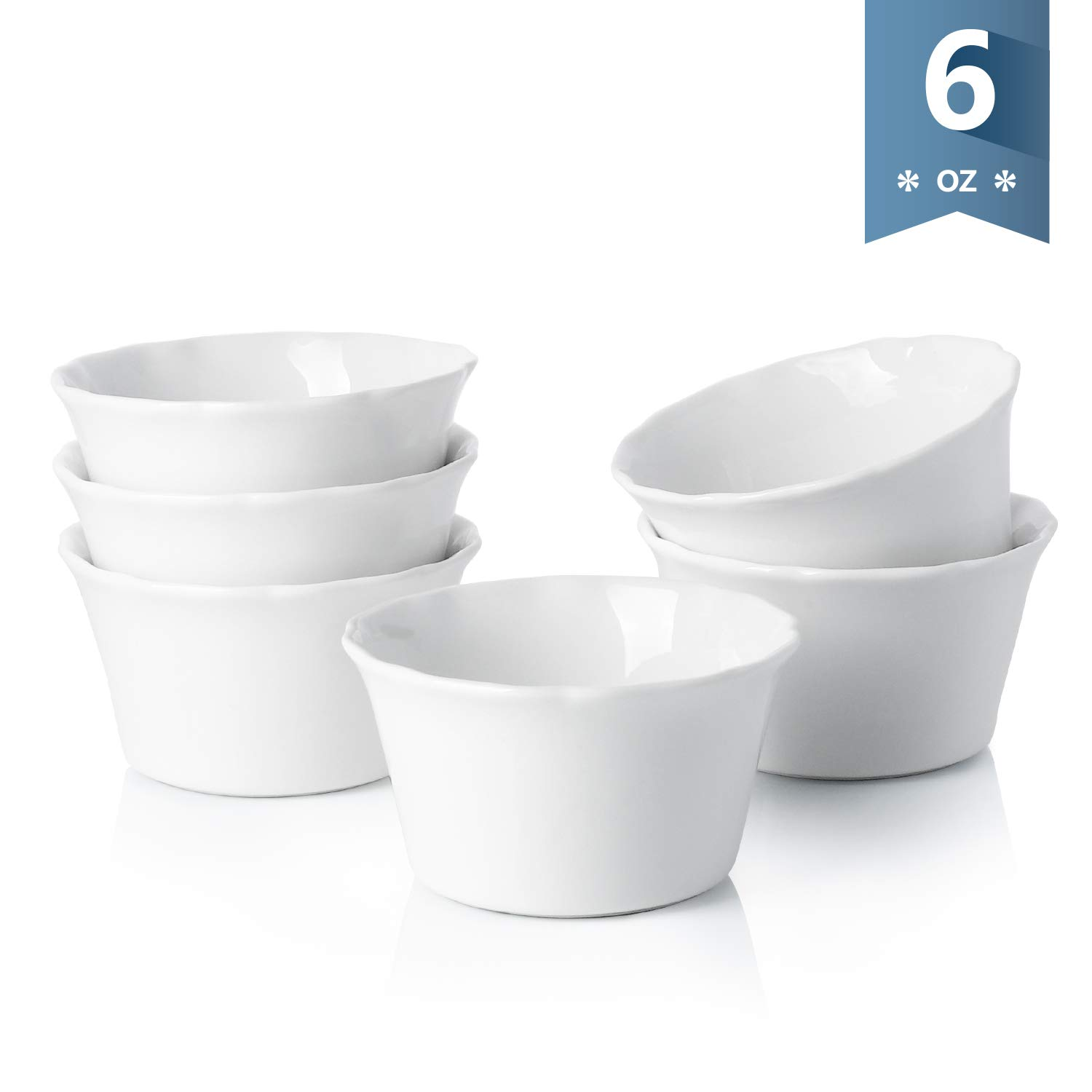 Sweese 511.001 Porcelain Souffle Dish, 6 Ounce Ramekins for Baking, Set of 6, White