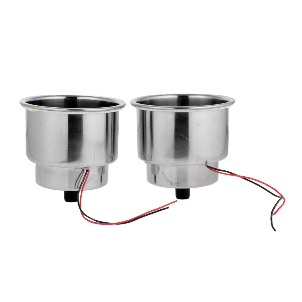 MagiDeal 2pcs Porte-boissons En Acier Inox Porte-gobelet Encastr/é et LED Support Pour Camion Camping-car Bateau Yacht