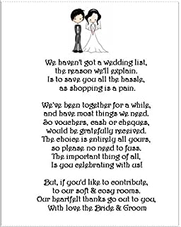 Wedding gift poems asking for vouchers