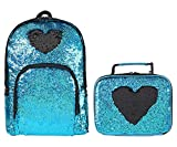 Insulated Glitter Sequin Lunch Box Tote Bag&Flipper Sparkle Reversible Sequin Sequence School Backpack for Girls, Fun&Fashion, Set of 2 (Blue/Black)