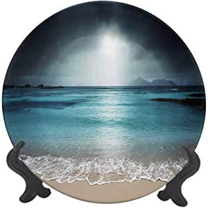 "Tropical 8"" Ceramic Decorative Plate,Storm Sky on The Beach of La Dugue Island Seychelles Dramatic Scene Dinner Plate Decor Accessory for Dining Table Tabletop Home Decor Dark and Petrol Blue Tan"
