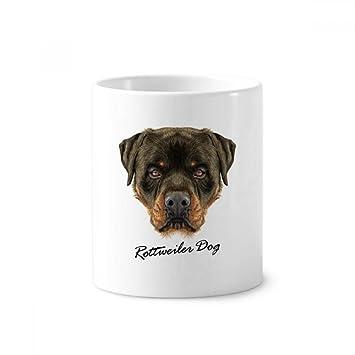 Taza de cerámica para cepillo de dientes, diseño de perro con rodillos ferociosos, 350 ml, color blanco: Amazon.es: Oficina y papelería