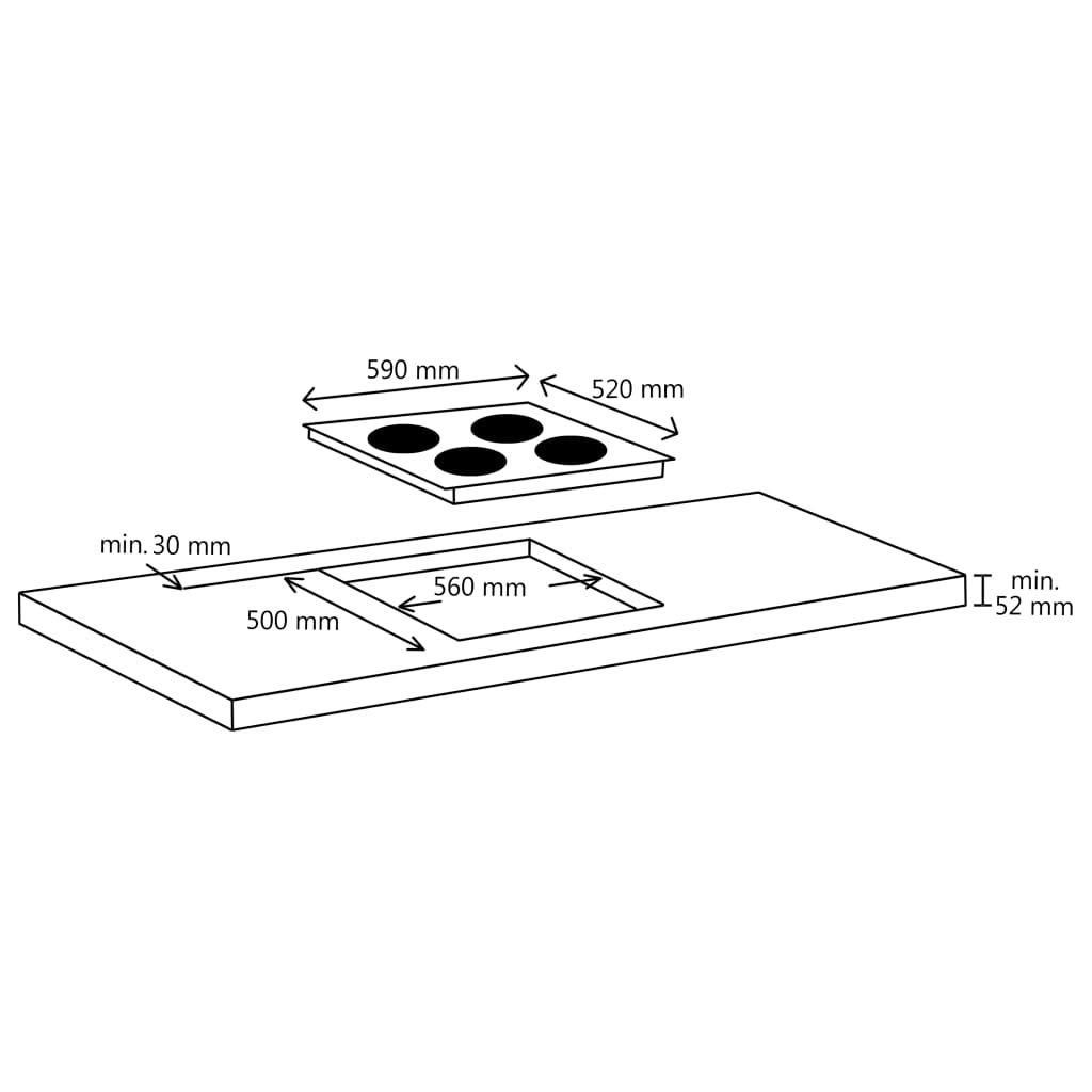 vidaXl Placa Vitrocerámica 4 Quemadores Control Táctil ...