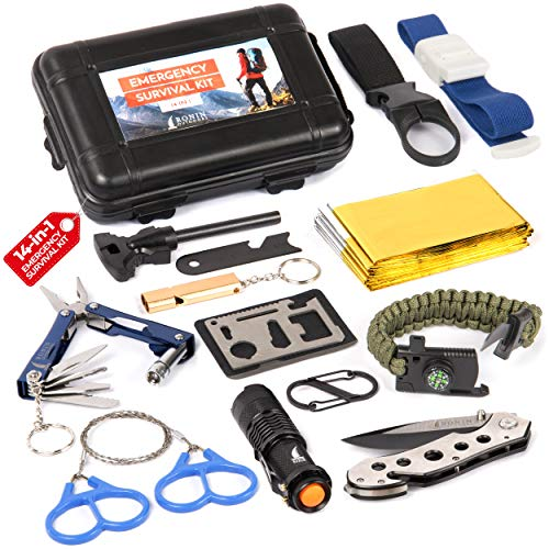 Complete Survival Emergency Kit 14-in-1 by Ronin | Great for Backpacking Hiking | Tactical Gear - Car/Disaster SOS EDC Tools | Compact Traveling Case - Fishing Hunting Camping Gadgets for Men & Women ()