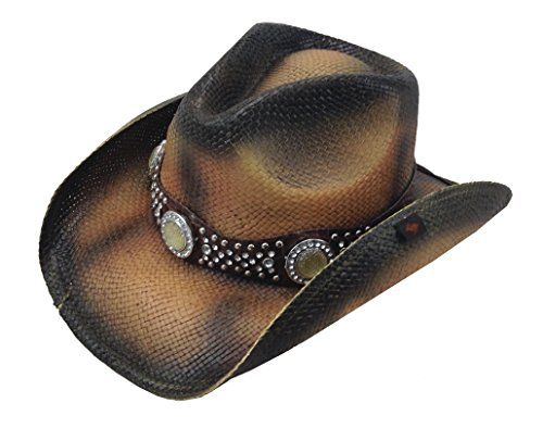 Peter Grimm Ltd Women's Cash Studded Band Straw Cowgirl Hat Brown One Size