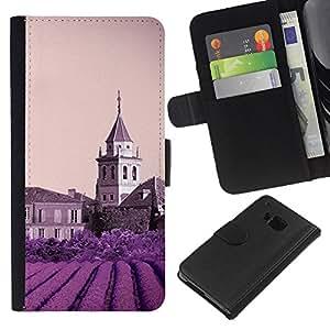 Ihec-Tech / Flip PU Cuero Cover Case para HTC ONE M7 - Nature Purple Flower Castle