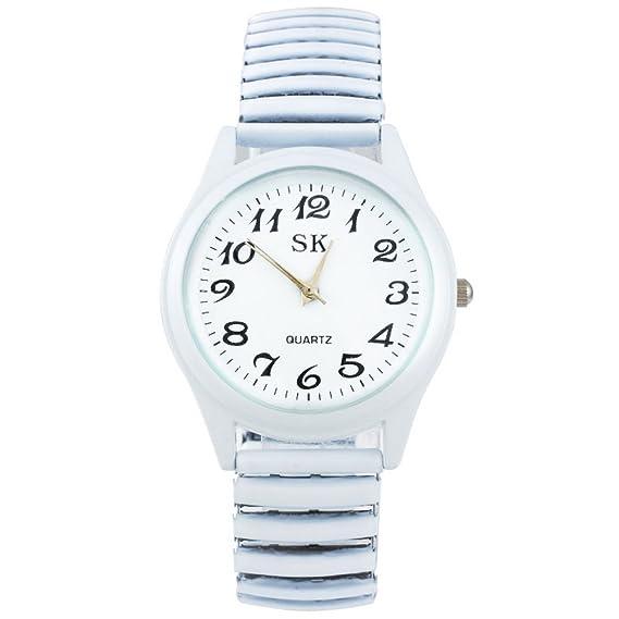 Mujer Blanco Muelle Fuerza Reloj de pulsera Quartz Reloj analógico reloj maduro pulsera
