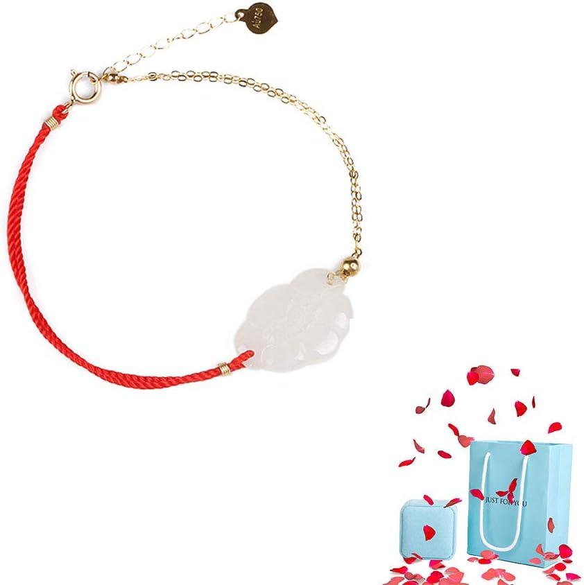 YOYT Pulsera Tejida de Cuerda roja Horóscopo Chino Hetian Jade Foot Cadena de Oro Mujer Pequeña Pulsera Fresca