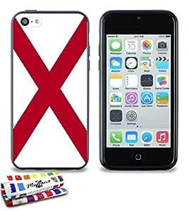 Carcasa Flexible Ultra-Slim APPLE IPHONE 5C de exclusivo motivo [Bandera de Alabama] [Negra] de MUZZANO  + ESTILETE y PAÑO MUZZANO REGALADOS - La Protección Antigolpes ULTIMA, ELEGANTE Y DURADERA para su APPLE IPHONE 5C
