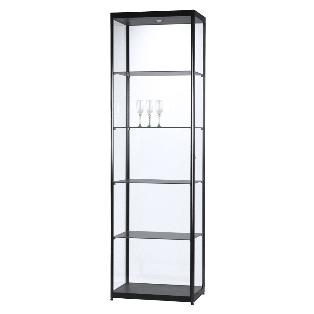 vitrine glasvitrine standvitrine sammlervitrine basic 600 alu schwarz glas beleuchtet. Black Bedroom Furniture Sets. Home Design Ideas