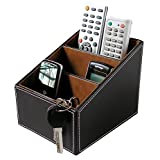 cell phone storage box - Yaekoo 3 Slots Wooden Struction Leather Multi-function Desk Stationery Organizer Storage Box Pen/Pencil ,Cell phone, Business Name Cards Remote Control Holder Colors (Brown)