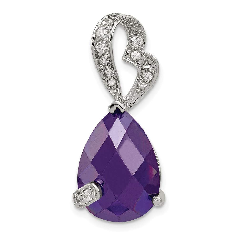 925 Sterling Silver Purple and Clear Cubic Zirconia Pendant Slide 29mm x 11mm