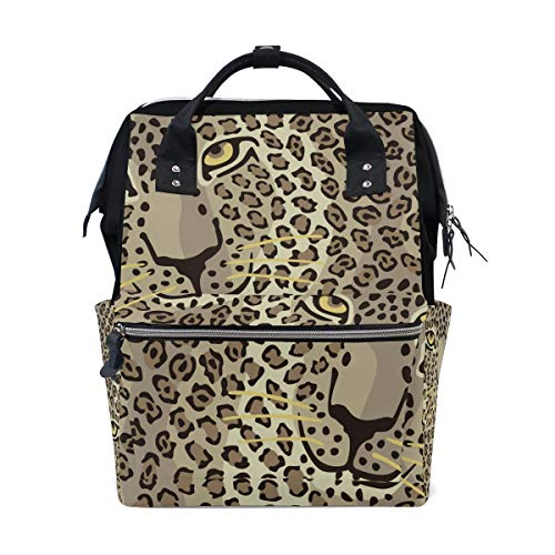 (Student Travel School Backpack Wild Cat Couple Leopard Skins and Heart Laptop College Bags Shoulder Tote Bag)