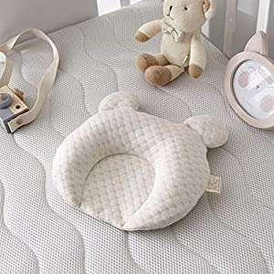 TEALP Baby Girl Nursery Bedding, Latex Bear Crib Pillow, Breathable Head Shaping Baby Pillow with Natural Cotton Cover, Cute Beige Toddler Pillow to Prevent Flat Head