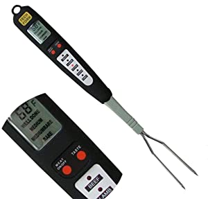 Beyond Group 32 80-09 Digital Meat Instant Read Thermometer with LED Screen and Ready Alarm, Kitchen Probe with Long Fork for Grilling, Barbecue and Cookin, l white