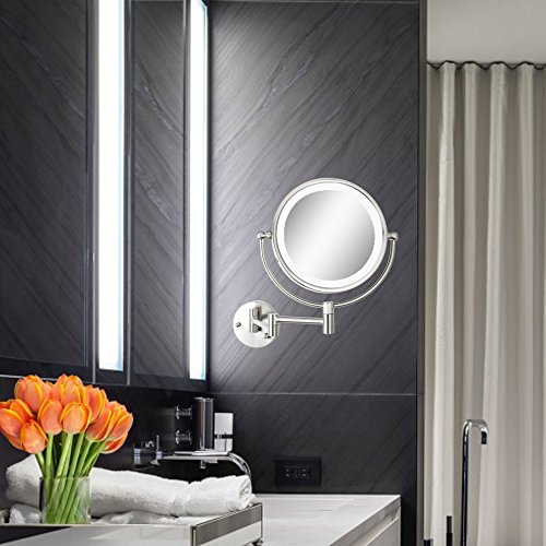 Alhakin 8 Inch Wall Mount Makeup Mirror Lighted Bathroom Mirror With