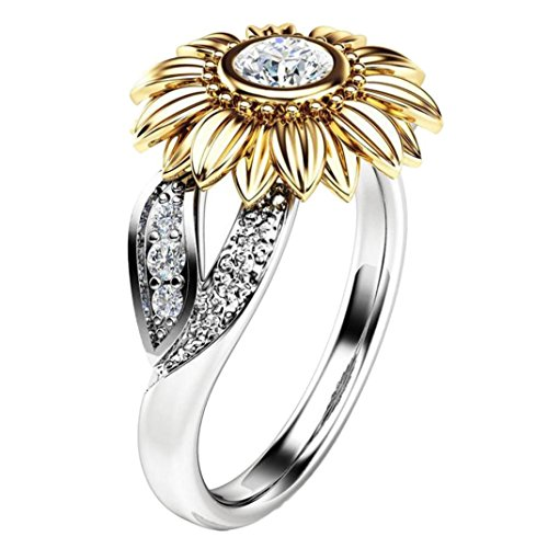 Kimloog Sunflower Women's Cubic Zircon Rings with Two Side Tone Silver Leaf Jewelry Gifts (10, Silver)