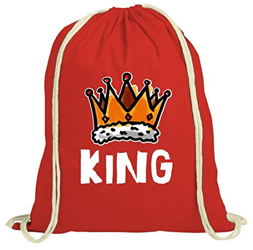 ShirtStreet Geschenkidee natur Turnbeutel mit Crown King Motiv Rot Natur w29VYZzkX
