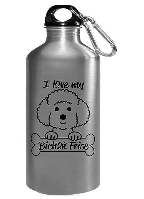 Amazon.com: I Love My Bichon Frise - Botella de agua para ...