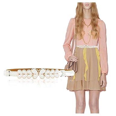 Señoras elegante metal mariposa hebilla falda delgada cinturón ...
