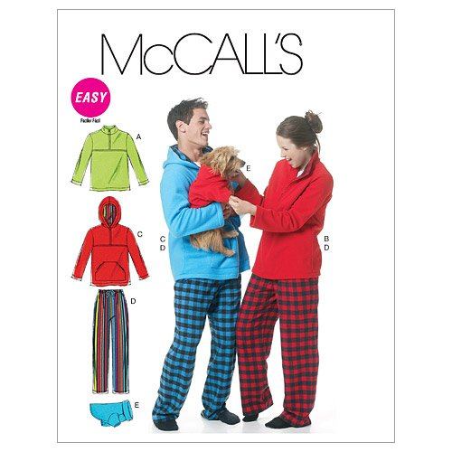 McCall's Patterns M6252 Misses'/Men's/Teen Boys' Tops, Pants And Dog Blanket, Size Y (XSM-SML-MED) -