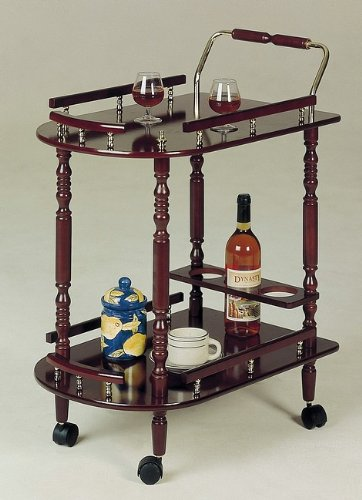 Coaster Home Furnishings Cherry Finish Kitchen Dining Serving Cart Brass Accents