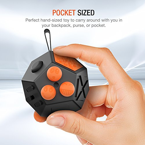 Trianium Fidget Cube Advanced (Prime 12 Sided) Reduces Stress / Anxiety / Focus for Children, Students, Teens, and Adults [Dodecagon Dice] Stress Reliever for Work, School,Fun: Anxiety Attention Toy