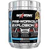 Six Star Explosion Pre Workout, Powerful Pre Workout Powder with Extreme Energy, Focus and Intensity, Blue Raspberry, 30 Servings (210g)
