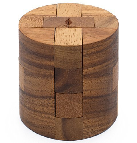 Adult Puzzle (Powder Keg: Wooden Puzzles for Adults an Interlocking 3D Cylinder Brain Teasers from SiamMandalay with SM Gift Box (Pictured))