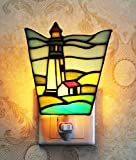 Makenier Tiffany Style Stained Glass Lighthouse Small Wall Lamp Night Light