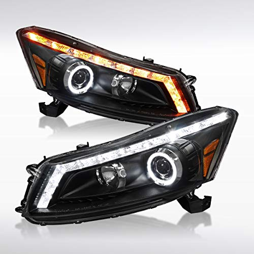 Autozensation For Honda Accord 4dr Black LED Halo Projector Headlights